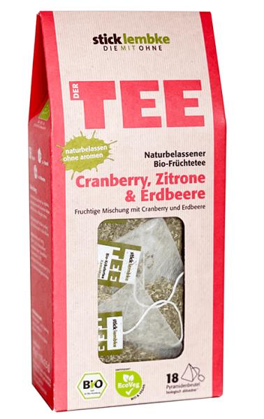 Bio-Früchtetee Cranberry, Zitrone & Erdbeere