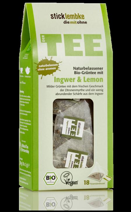 Naturbelassener Bio-Grüntee Ingwer & Lemon