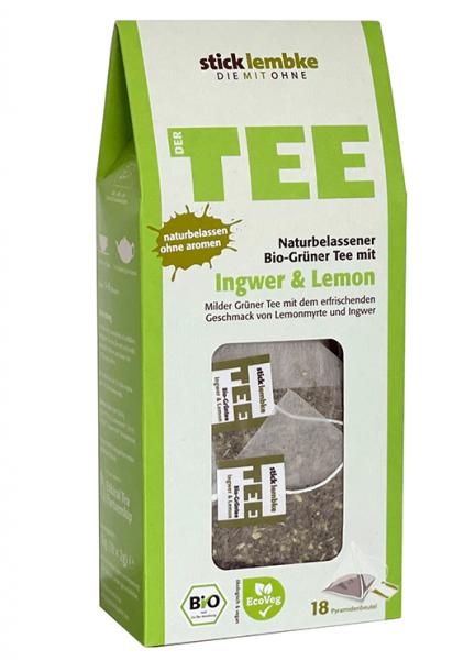 Naturbelassener Bio-Grüner Tee mit Ingwer & Lemon